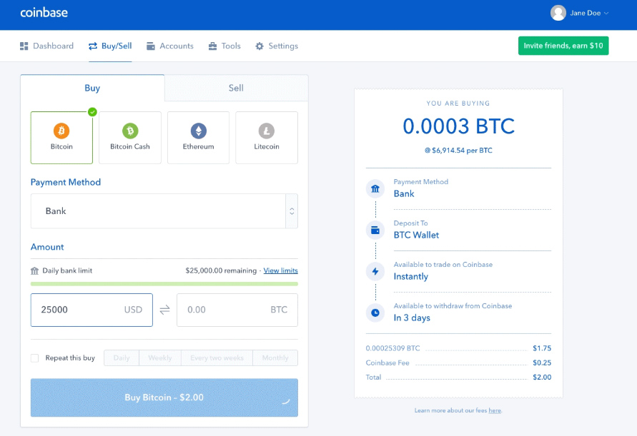 Coinbase Nền tảng giao dịch