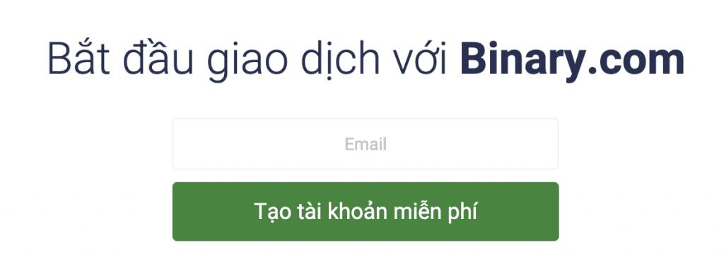 Mở tài khoản binary.com