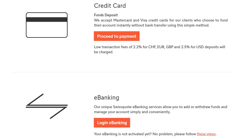 Swissquote Nạp tiền và rút tiền