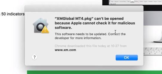 Cảnh báo cài đặt MetaTrader 4 trên máy Mac