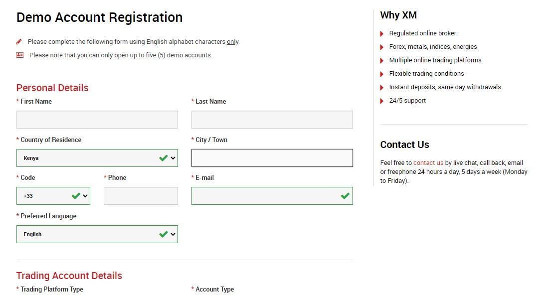 Đăng ký tài khoản demo MetaTrader 4