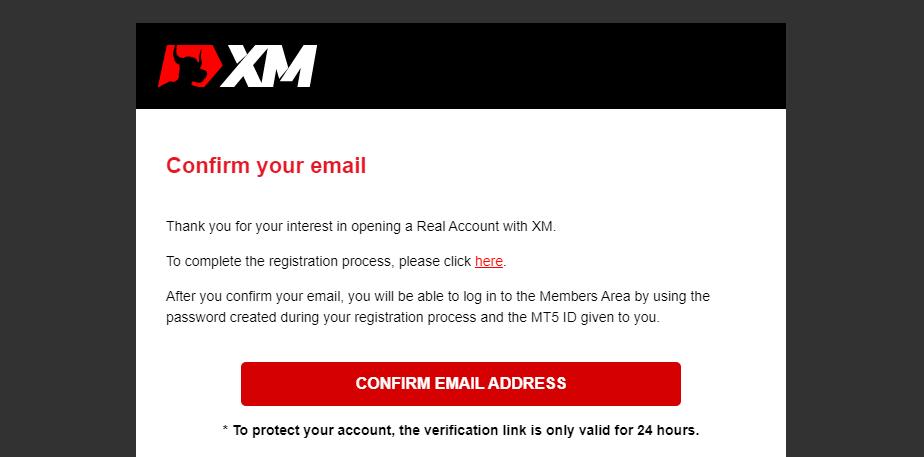Tài khoản thực xác nhận thư điện tử MetaTrader 4