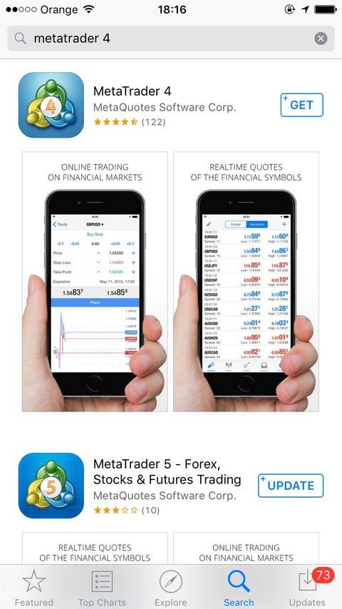MetaTrader 4 Trên iOS Tìm kiếm MetaTrader 4 trên App Store