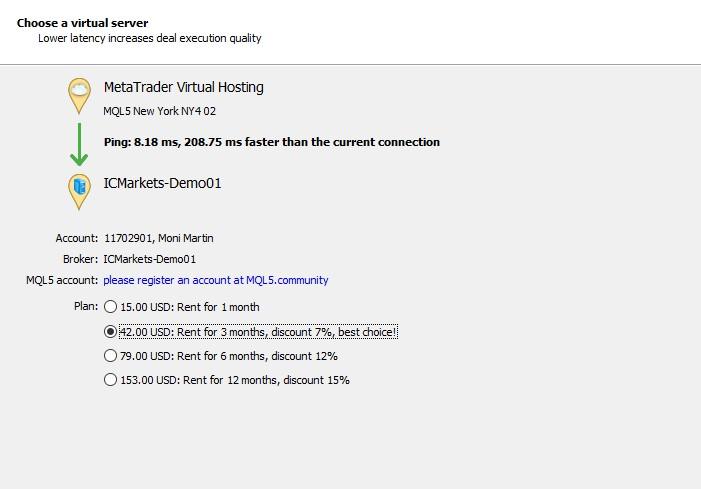 MetaTrader 4 vitual hosting