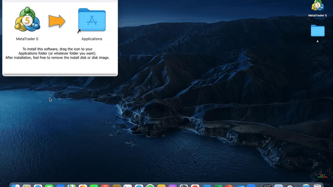 MetaTrader 5 Cài đặt nền tảng MT5 như thế nào Trên máy MAC Kéo vào thư mục ứng dụng